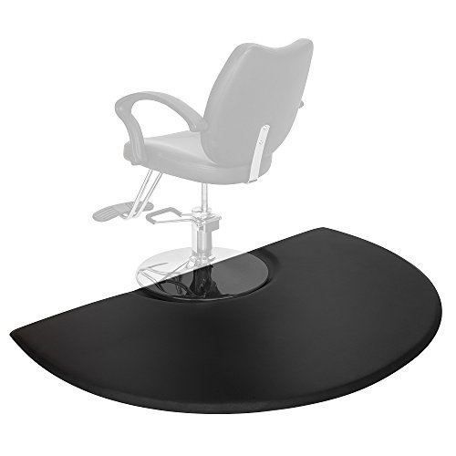 Mefeir 3' x 5' - 7/8'' Thick Salon Anti Fatigue Mat for Hair Stylist, Semi Circle Comfort Barber Shop Beauty Spa Floor Mats Under Styling Chair