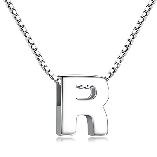Candyfancy 925 Sterling Silver Initial Necklace with Letters Pendant Personalised Alphabet A-Z for Women Men (R with Chain)