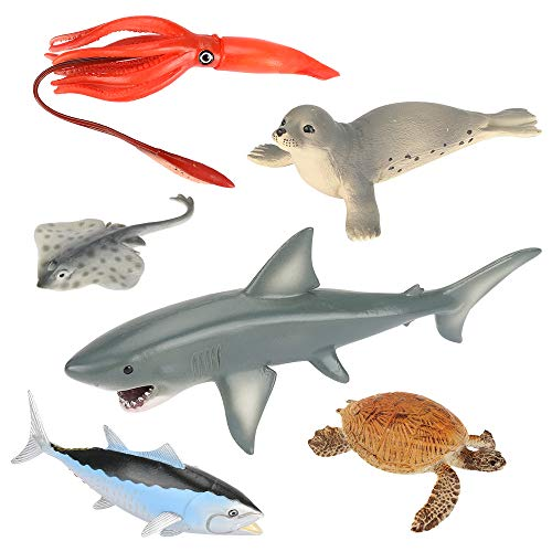 Welltop 6Pcs Ocean Sea Marine Animal Figures, Realistic Solid Plastic Ocean Creatures Action Models, Kids Education Cognitive Toy