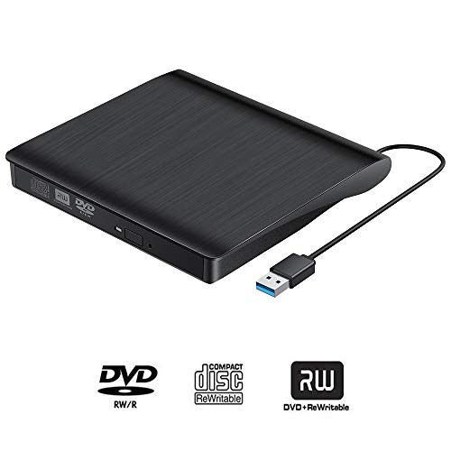 Externes DVD Laufwerk Rewriter, USB 3.0, tragbares CD-Laufwerk, CD/DVD+/-RW, CD-/DVD-ROM-Brenner, kompatibel mit Laptop, Desktop, PC, Windows, Linux, OS, Apple Mac