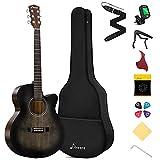 Donner Guitarra Acústica 4/4 Guitarra Adultos Jumbo Cutaway Kit Guitarra Acústica Principiante con Bolsa Cuerda Afinador Negro