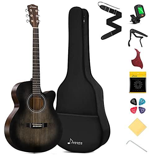 Donner Gitarre Akustik Anfänger Akustikgitarre 4/4 Set Jumbo Cutaway Gitarren Erwachsene mit Tasche Capo Plektren Gurt Stahlsaiten(Schwarz)