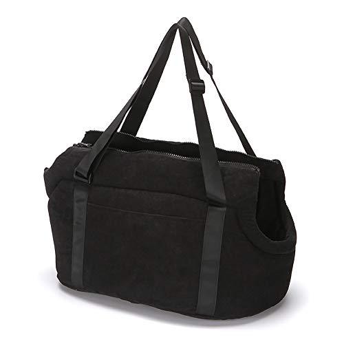 LeerKing Hundetasche faltbar Träger Haustiertragetasche Schultertasche Tragetuch Welpentasche für Kleine Hunde Katzen und Kleinetier Schwarz L