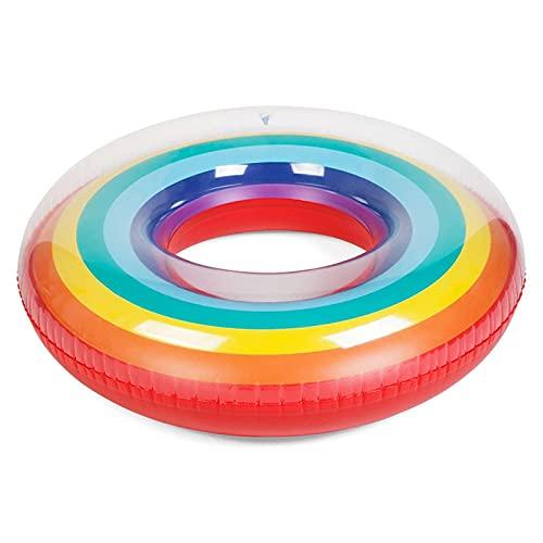 Gcxzb Schwimmreifen Schwimmring Aufblasbarer Pool Schwimmen Kreis Regenbogen Float Pool Schwimmen Ring für Erwachsene Kinder Frauen Runde Floating Ring Bett Sommer Pool Party Spielzeug