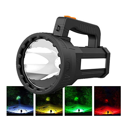 HMAN Rechargeable Spotlight,Super Bright LED Handheld Flashlight 6000 Lumens,Detachable Hunting Light Filter,Waterproof Tactical Flashlight Camping Flood Searchlight,With USB Output Power Bank
