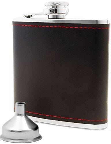 Outdoor saxx–Petaca de acero inoxidable, elegante piel Diseño | Flagon de pecho bolsa bolsillos de botella, incluye entrada de embudo, 17cl, 175ml, regalo perfecto