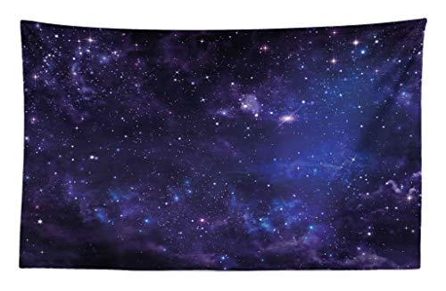ABAKUHAUS Galaxis Wandteppich & Tagesdecke Inspiring Starway anzeiexakts Weiches Mikrofaser Stoff 230 x 140 cm Leicht zu pflegen Black Navy Blue