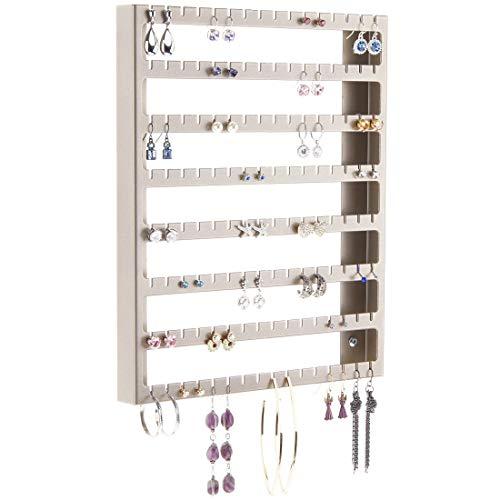 Stud Dangle Earring Holder Wall Mount Hanging Jewelry Organizer Display Closet Jewelry Storage Rack, Luka Satin Nickel Silver