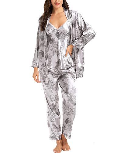 Damen Satin Schlafanzug Set 3PC Elegant Blumenmuster Seide Pyjama Nachtwäsche Cami Top Kurz Robe mit Gürtel & Sleep Hose S-XXL, XL, Grau
