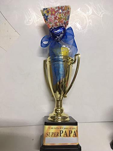 Pokal voor Vaderdag, van kunststof, 24 cm, gadget cadeau-idee (Super Papa) met bonbonzakje LINDT