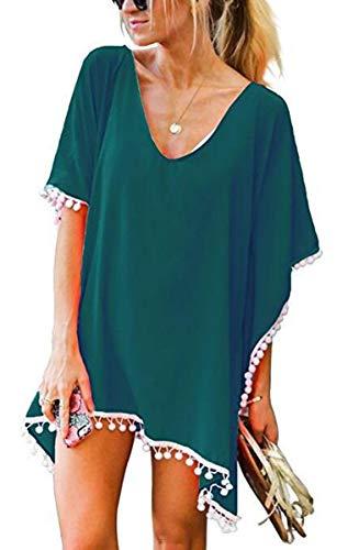UMIPUBO Copricostume da Bagno Chiffon Nappa Donna Estate Copribikini Costume da Bagno Abito da Spiaggia Mare Copricostumi e Parei Beach Blouse Bikini Cover Up Tunica Kaftan (Verde Scuro)