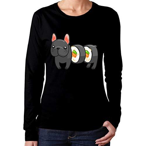 PLICQG Frenchie Sushi Roll Woman T-Shirts Soft Long Sleeve Fashion Sweatshirt Black