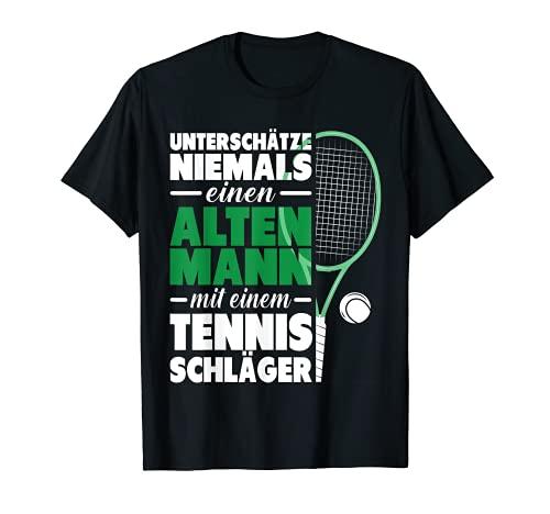 Herren Unterschätze niemals den Mann mit Tennisschläger Tennis T-Shirt