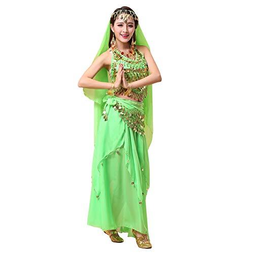 Xinvivion 4 Piezas Mujer Señoras Danza del Vientre Profesional Conjunto de Vestuario Danza India Rendimiento Outfit Traje (Verde,Ajuste 45-70 KG)