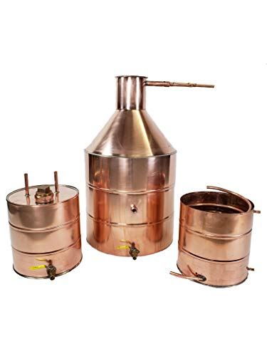 20 Gallon Copper Moonshine Whiskey & Brandy Still with Ball Valve Drain, 5 Gallon Worm, 5 Gallon Thumper with 2 in Fruit Port with Ball Valve Drain, 1/2 OD Copper Tubing