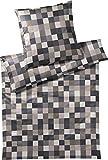 Joop! Bettwäsche Mosaik Relaunch Mako-Satin Graphit Größe 155x220 cm (80x80 cm)