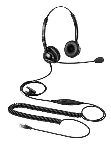 Kabelgebundenes Telefon Headset Binaural Call Center RJ9 Headset mit Mikrofon Noise Cancelling kompatibel mit Festnetztelefon Avaya Plantronics Polycom Siemens Toshiba Mitel NEC Nortel Alcatel