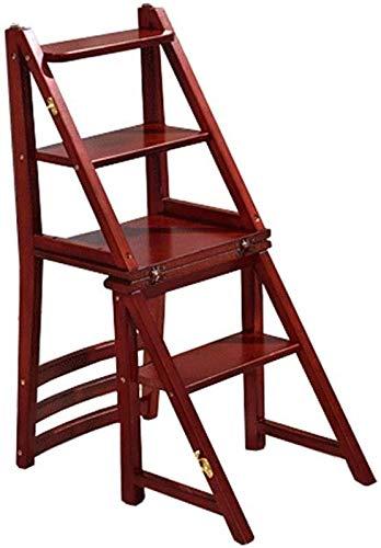 XITER Ladder Stap Kruk met 4 Stappen Houten Stap Ladder voor Thuis Bibliotheek Loft Trappen Lichtgewicht Opvouwbare Ladder Planken - 150kg Capaciteit