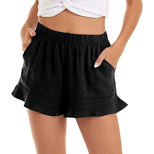 feftops Pantalones Cortos Mujer Dobladillo Volantes Shorts de Playa Verano Secado Rápido Transpirables Shorts para Natación, Surf, Carrera, Gimnasio, Informales