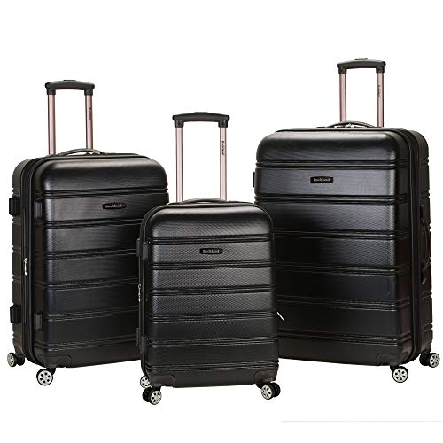 Rockland Melbourne Hardside Expandable Spinner Wheel Luggage, Black, 3-Piece Set (20/24/28)