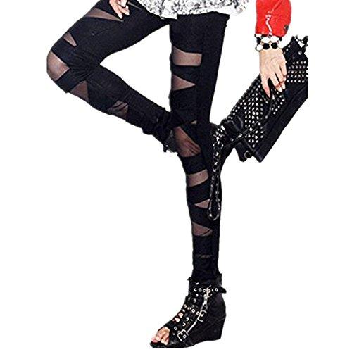 Tamskyt Damen-Leggings, Nylon, Schwarz / Weiß, sexy, Netzleggings, enge Hose, einfarbig, Einheitsgröße Gr. One size , Schwarz