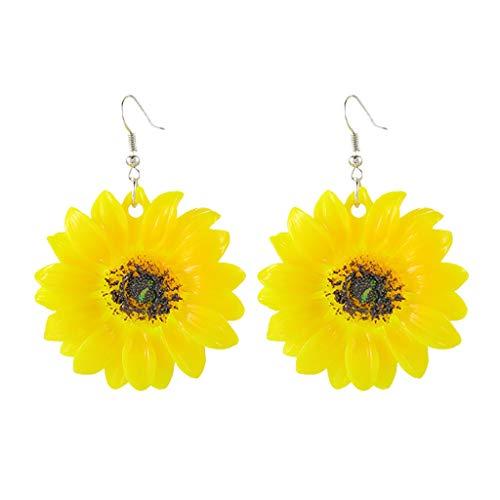 Damen Ohrringe, Sonnenblume Gelb Große Blume Sommer Frische Wilde übertriebene Ohrringe Schmuck Armreif Geschenk Jewelry Frauen,Überraschungsgeschenk Freundinnen Mütter Tochter (Gelb)