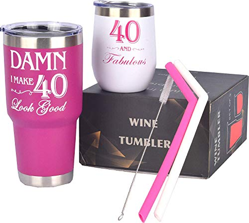 40th Birthday Gifts for Women, 40 and Fabulous Wine Tumbler, 40 and Fabulous Tumbler for Women, 40th Birthday Tumbler Set, 40th Birthday Presents for Friends, Sister, Her, 40th Birthday Gifts Idea