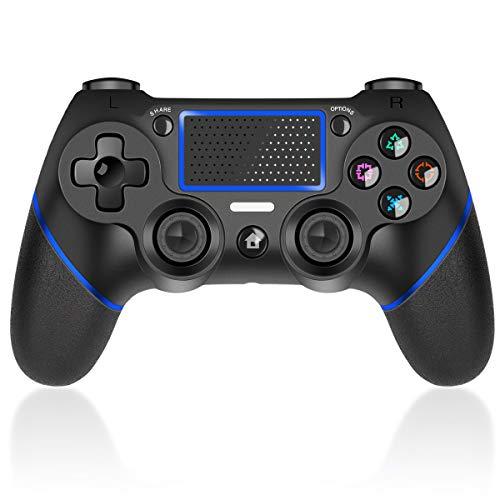 CHEREEKI Mando para PS4, Mando Inalámbrico para PS4 / PS4 Pro / PS4 Slim, Gamepad Wireless Bluetooth Controlador Joystick con Pantalla Táctil de Vibración Dual de Seis Ejes (Azul)