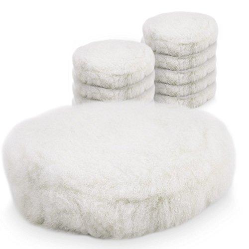 BITUXX® 150mm Wollhaube Polierpad Wollpad Polierfell Wollpuffer Polierhauben Lammfell für Autopoliermaschinen (10x)