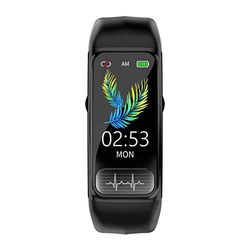 Smartwatch ECG,Monitor de presión Arterial,frecuencia cardíaca de oxígeno en Sangre,recordatorio de información de Software Social,Alarma,Reloj de Ejercicio de Salud para Unisex,Pulsera (Negro)