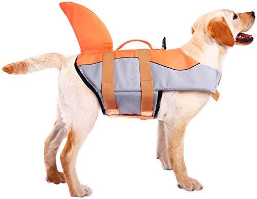 CITÉTOILE Hunde Schwimmweste Mit Weichem Griff Rettungsweste Schwimmkörper für Haustier Schwimmen Rafting Boot Fahren Surfen Training Gewässern, XS-XXL Orange