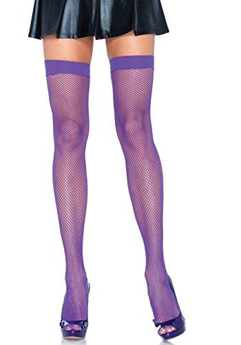 Leg Avenue Women's Nylon Fishnet Thigh Highs, Neon Purple, One Size