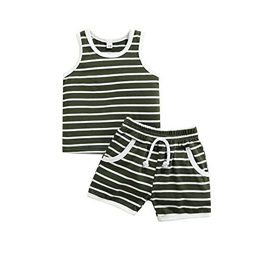 Thorn Tree Toddler Boy's Clothes Set Crew Neck Sleeveless T-Shirts Elastic Waist Shorts Summer Outfits (Green Strip, 0-6 Months)