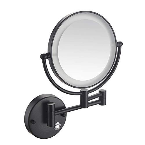 HGXC Espejo de Maquillaje para baño, montado en la Pared, Plegable, telescópico, táctil, de una Cara, Espejo de Belleza magnificado 3X / 5X