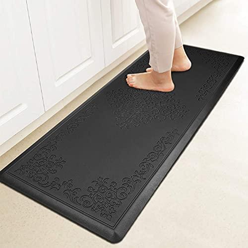 "HEBE Kitchen Mat Cushioned Anti-Fatigue Floor Mat Runner Waterproof Non-Slip Standing Mat Ergonomic Comfort Floor Mat Rug Runner for Office,Sink,Laundry,Desk(20""x52"",Black)"