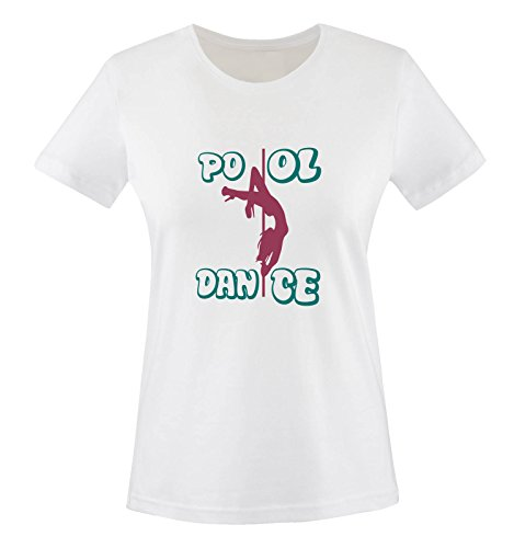 Comedy Shirts - Pool Dance - Damen T-Shirt - Weiss/Fuchsia-Türkis Gr. XS