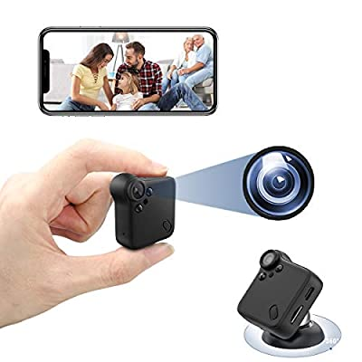 Mini Spy Camera Wireless Nanny Cam with Night Vision & Motion Detection Small Home Security Surveillance Cameras 1080P HD Hidden Camera with Audio & Wide Angle for Car, Home, Office (Black)