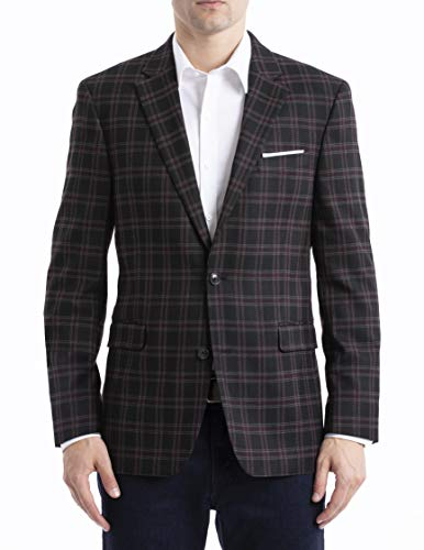 Tommy Hilfiger Men's Regular Classic Blazer, Wine/Black, 40R