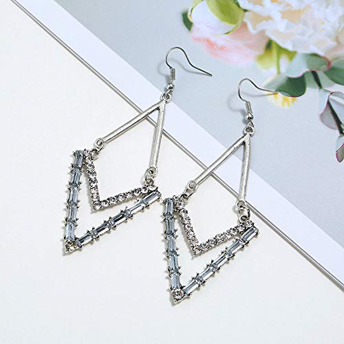 European and American new style retro metal trend hundred tower earrings diamond ethnic style splicing rhombus crystal earrings