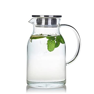 68 Ounces Glass Pitcher with Lid, Water Jug for Hot/Cold Water, Ice Tea and Juice Beverage