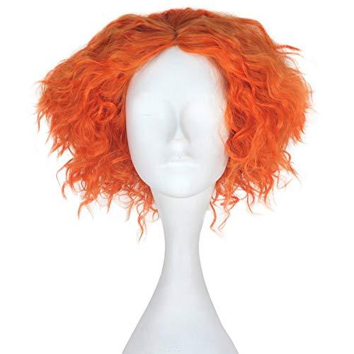 FVCENT kurze lockige orange Kostüm Party Karneval Hutmacher Perücke