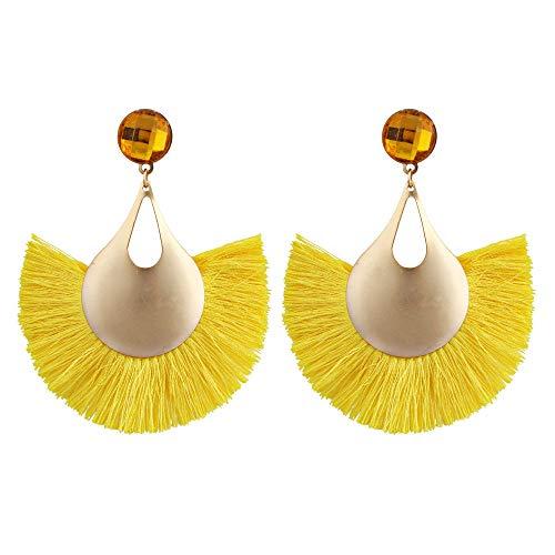GGSDDU Pendientes largos de aleación en forma de abanico para mujer, estilo bohemio, pendientes colgantes de moda, joyería de oreja redonda, diamantes de imitación, varios colores disponibles amarillo
