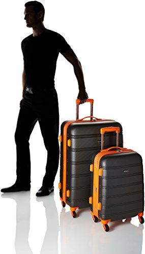 Rockland Melbourne Hardside Expandable Spinner Wheel Luggage, Charcoal, 2-Piece Set (20/28)