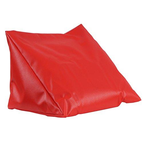 Lesekissen rot Rückenstütze aus Kunstleder für Bett; Couch, Fernsehen, Rückenkissen für bequemes sitzen, Keil- Nackenkissen mit Schaumstoffflocken