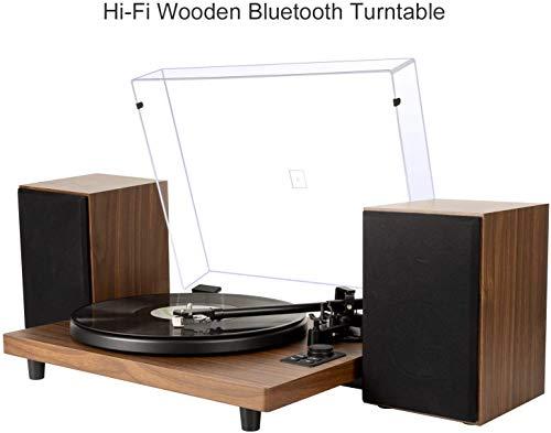 Tocadiscos de Vinilo con Bluetooth Sistema Hi-Fi con Altavoces, admite Salida Salida RCA, Bluetooth, Convertidor con contrapeso, Grabador de Vinilo a MP3