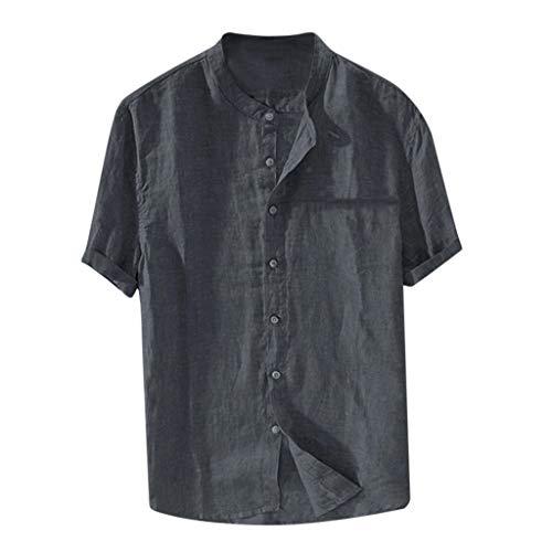 Yowablo T-Shirts Tops Hommes Baggy Coton Lin Couleur Unie À Manches Courtes Chemisier Rétro (3XL,Gris)