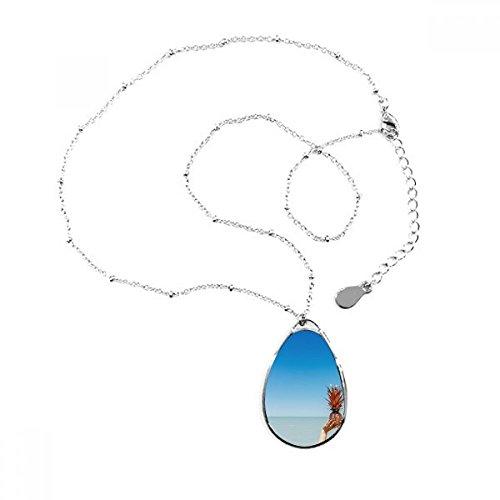 DIYthinker Imagen Playa de Arena Océano mar de piña Forma de lagrima Colgante Collar Joyas con Cadena decoración Regalo