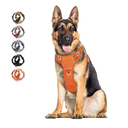 Dog Harness No Pull Reflective, WALKTOFINE Comfortable Harness with Handle,Fully Adjustable Pet Leash Vest for Small Medium Large Dog Breed Car Seat Harness Orange XL