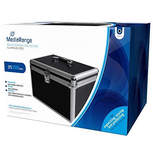 MediaRange Archivierungskoffer für 200 Discs, Aluminium-Optik, mit Einhängetaschen, schwarz
