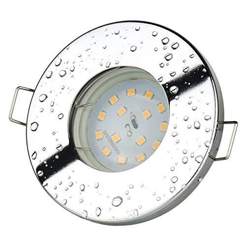 Set Bad Einbaustrahler IP65 Farbe: Chrom 5Watt - 450Lumen LED Leuchtmittel warm-weiss GU10 230Volt | Für Bad, Vordach, Keller uvm...